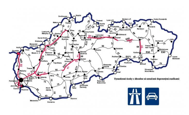 Платные дороги в Словакии.